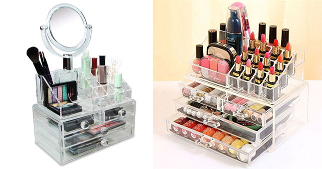 51% OFF! 4 Drawer Cosmetic Organizer with Mirror worth Rs. 3,990 for just Rs. 1,950!