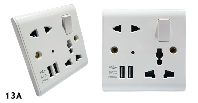 40% OFF!13A  Dual USB Wall Power Socket with Indicator Light and Switch worth Rs. 1,600 for just Rs. 950!