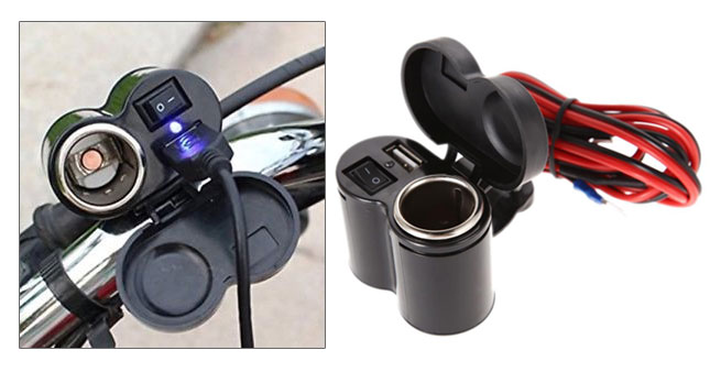 50% OFF! Motorcycle Waterproof  USB Charger & Cigarette Lighter Socket worth Rs. 1,800 for just Rs. 890!