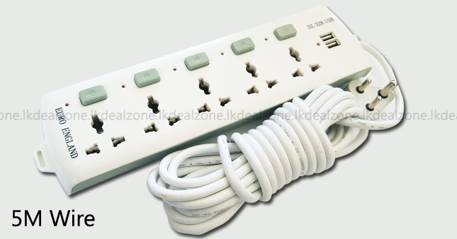 50% OFF! 5M Power Extension Cord with 2 USB worth Rs. 2,300 for just Rs. 1,150!