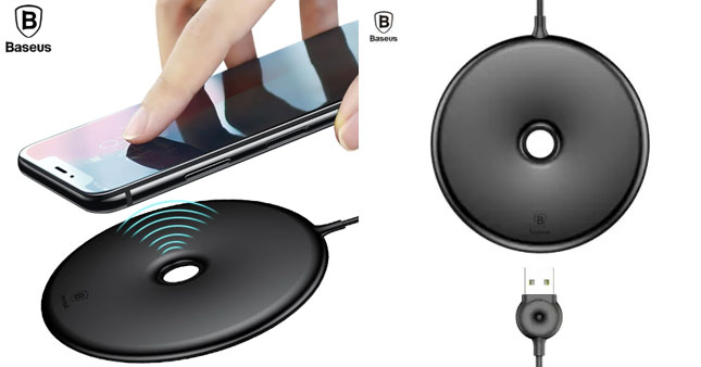 30% OFF! Baseus Donut Fast Wireless Charging Pad For iPhone X,8 and Samsung S9 S8 S7 Note 8,9 worth Rs. 5,000 for just Rs. 3,500!