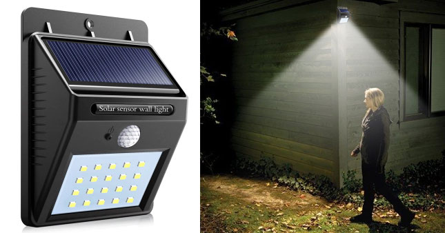 30% OFF! 20 LED Solar Powred Motion Sensor Activated Outdoor Waterproof Wall Light worth Rs. 1,800 for just Rs. 1,250!
