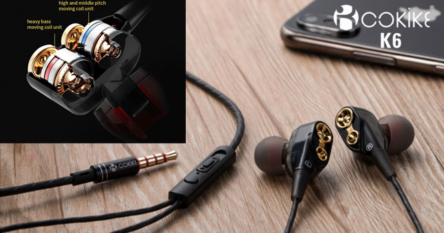 50% OFF! Cokike k6 Dual-Dynamic Driver Super Bass  high resolution In-Ear Earphone worth Rs. 2,500 for just Rs. 1,250!